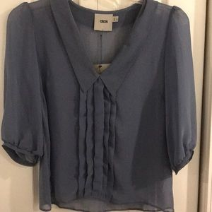 NWT - ASOS Pleated Collared Sheer Blouse; Sz: 6